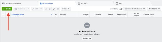 facebook ad manager create a new ad button