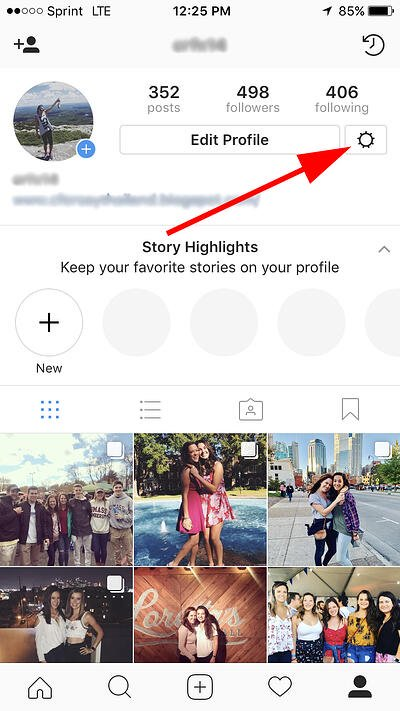 cog icon for settings next to the edit profile button in instagram