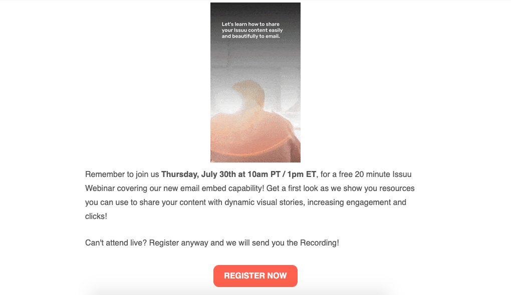 An email marketing message for a webinar.