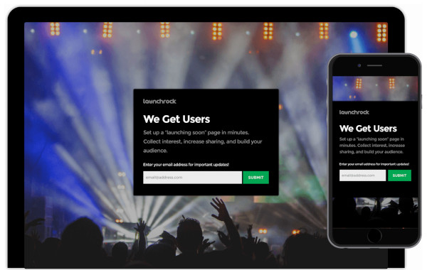 example of a landing page on desktop and mobile using launchrock landing page builder
