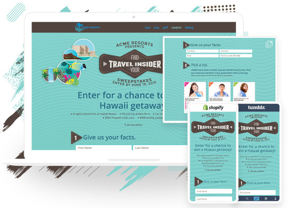 examples of mobile and desktop landing pages using shortstack