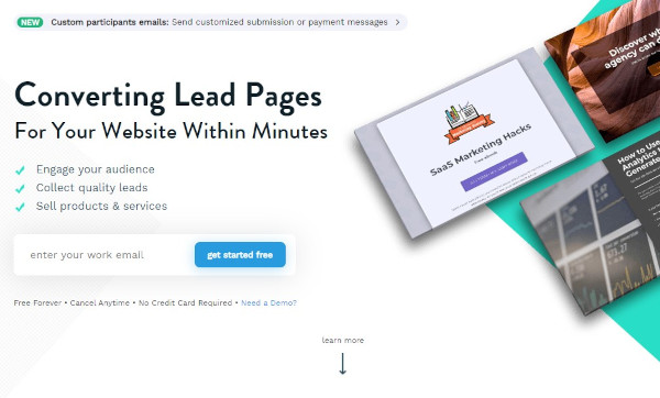 """involve.me website that reads """"converting lead pages for your website within minutes"""""""