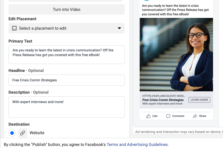 Example of uploading your landing page on Facebook