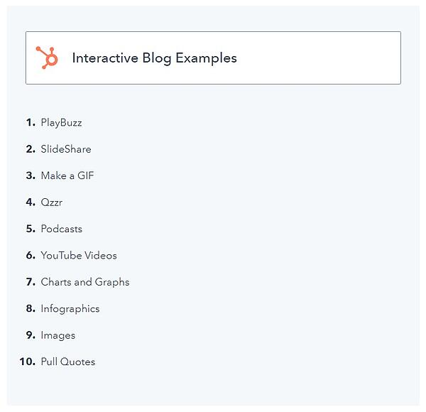 """example of a listicle blog post with the title of the list """"interactive blog post examples"""" and list items beneath it"""