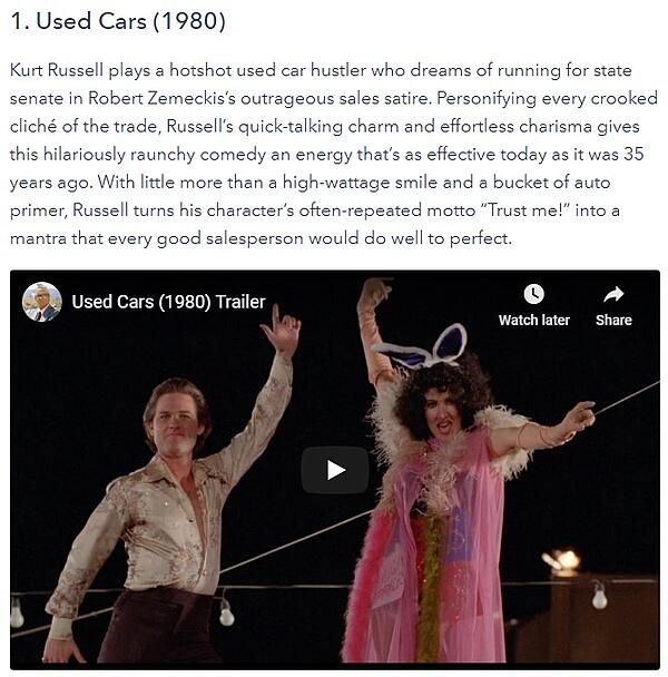example of a fun blog post with an embedded video from a movie trailer with kurt russel in dancing garb