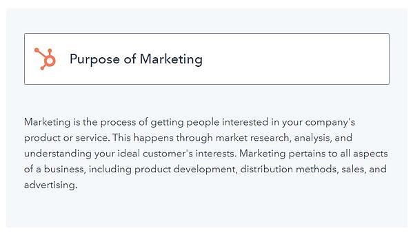 """example of a what blog post with the title of a concept """"purpose of marketing"""" along with an explanation of that concept underneath"""