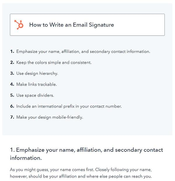 """example of a how-to blog post format that has the title """"how to write an email signature"""" with the steps displayed underneath it"""