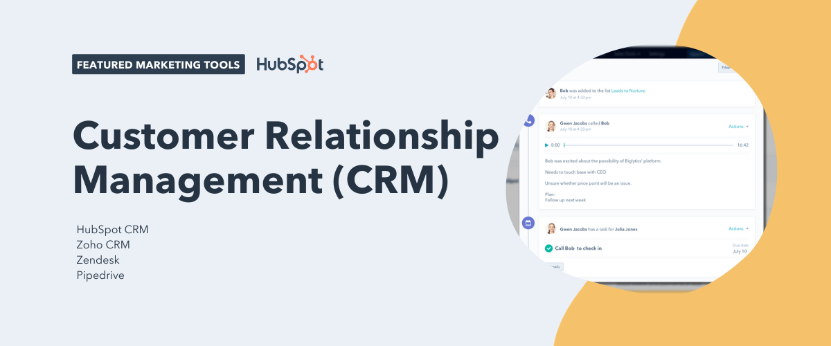 customer relationship management (crm) tools including HubSpot CRM, Zoho CRM, Zendesk, and Pipedrive