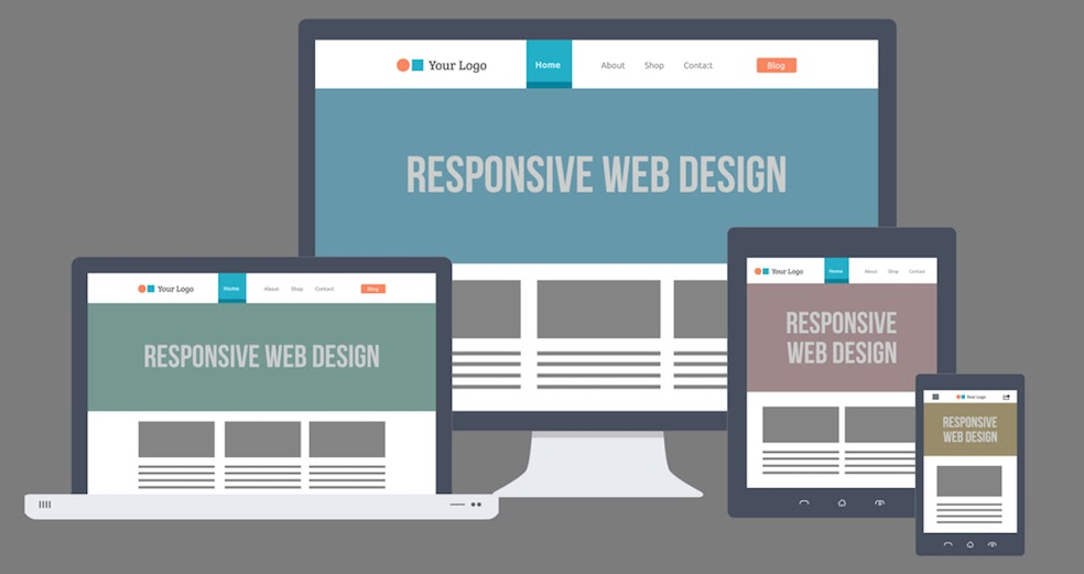 an illustration of a responsive web page on different devices