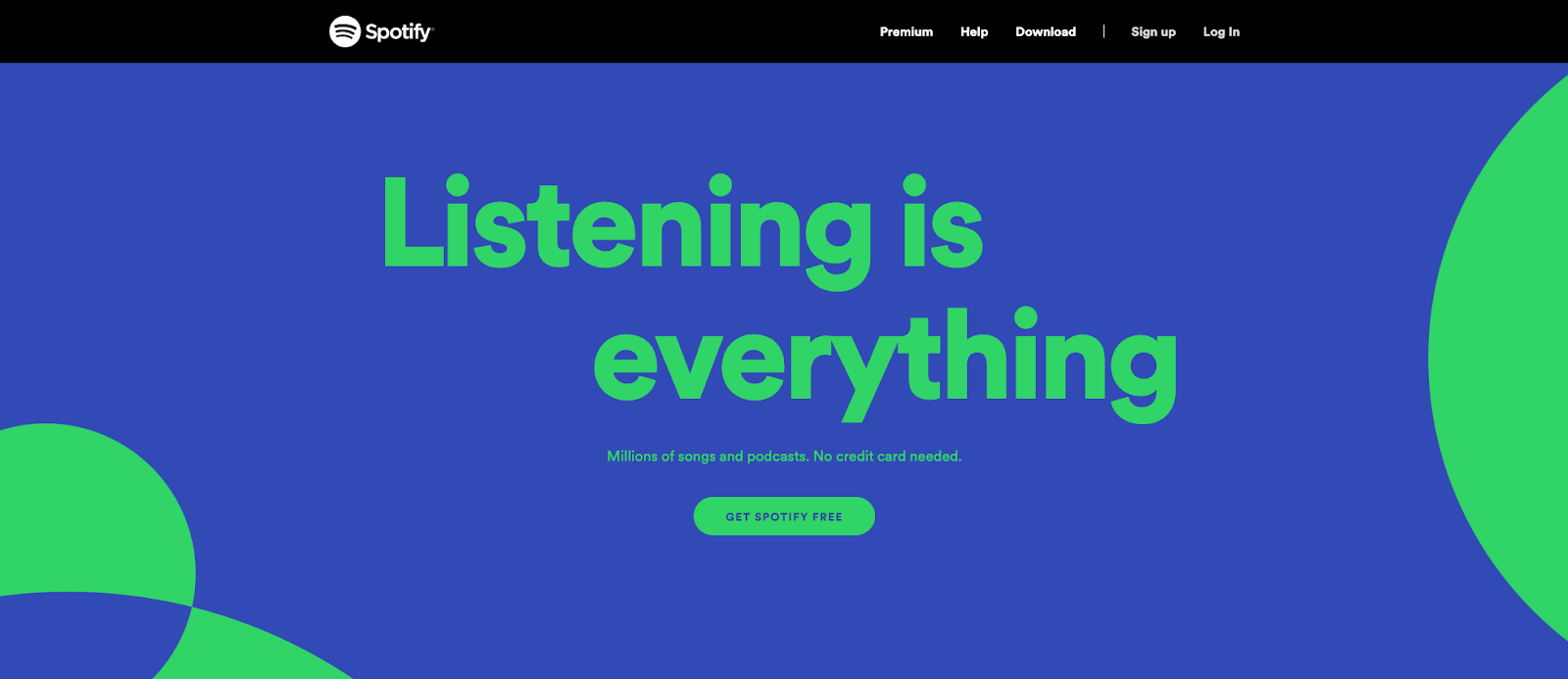 a web design example on Spotify.com