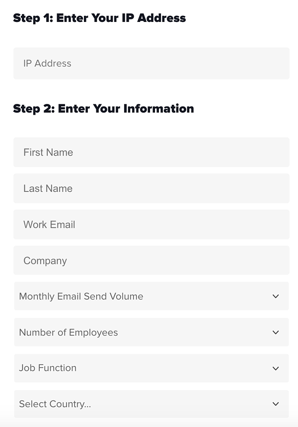 Form fields for checking your Sender Score on Return Path.
