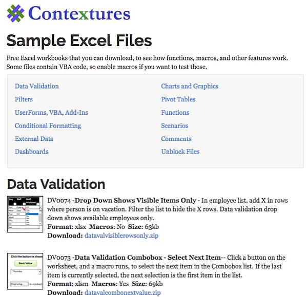 contextures's sample excel files page