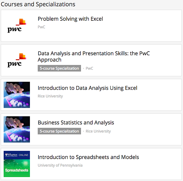 Coursera Excel courses