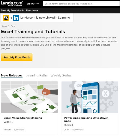 lynda's excel training and tutorials page